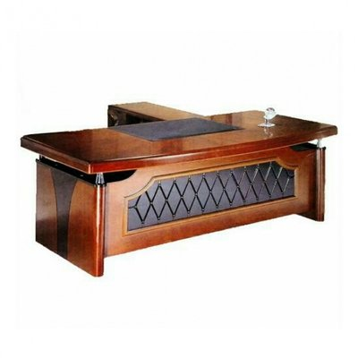 1.6m L-Shaped Executive Office Table - Brown