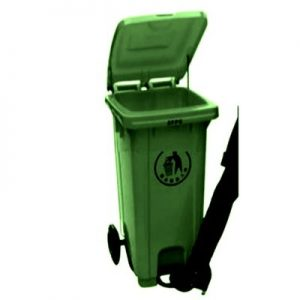 240L Plastic Wheelie Waste Bin With Drop-Off Window - Black