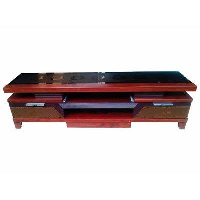 Glazed Wood Top TV Stand with 2 Drawers & 1 Shelf
