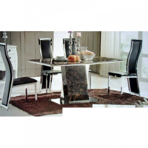 6-Seater Marble dining table top with Stainless Steel animal legs (WITHOUT CHAIRS)
