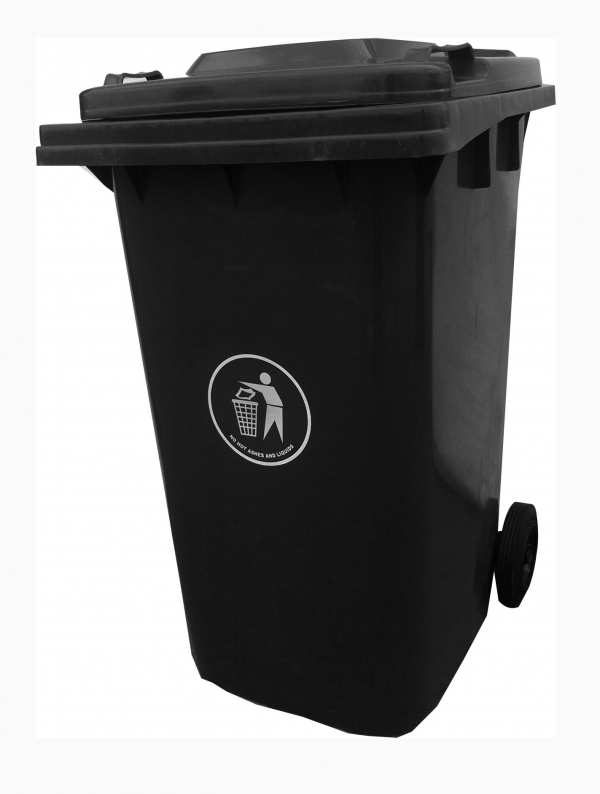 240 Litre Virgin Plastic Refuse Dust Bin with 2 Wheel Tyres - Grey