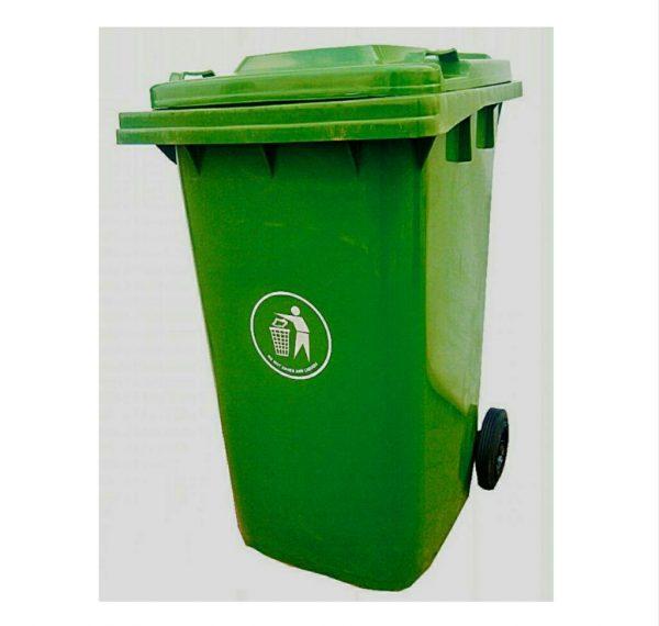 240 Litres Bayplast Plastic Wheelie Waste Bin - Deep Green