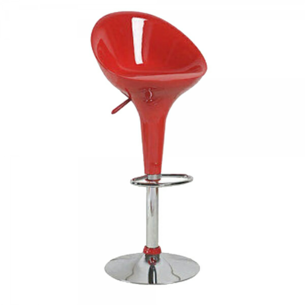 Medium Back Adjustable Plastic Swivel Bar stool - Red