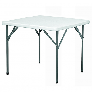 Lifetime Fold in half rectangular plastic top banquet tables with foldable iron legs.