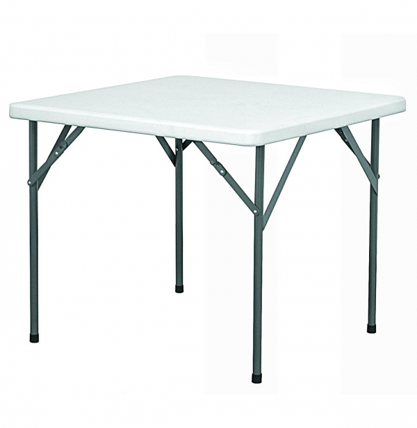 Square Restaurant Plastic Table with 4 Foldable Metal Legs