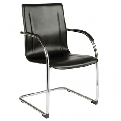 Leather Conference Non-Revolving Office Chair