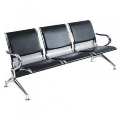 Leather Padded Airport Reception Office  Chair - 3-seater