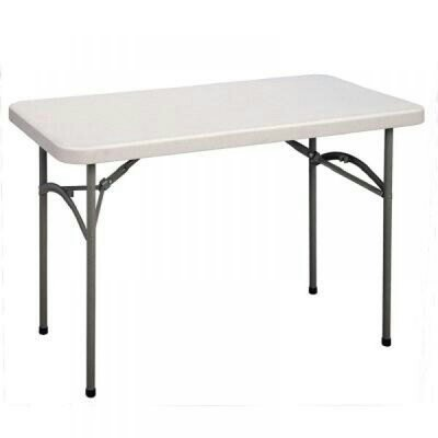 Rectangular Restaurant Plastic Table With 4 Foldable Metal Legs