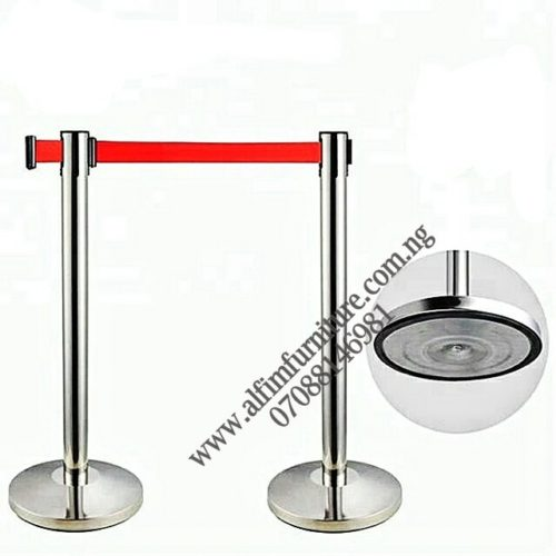 Retractable belt barrier stanchions -red_wm