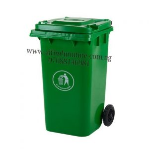 plastic waste bins - green bin with 2 tyres - refuse bins with wheels - plastic dustbin - waste bins nigeria trash can