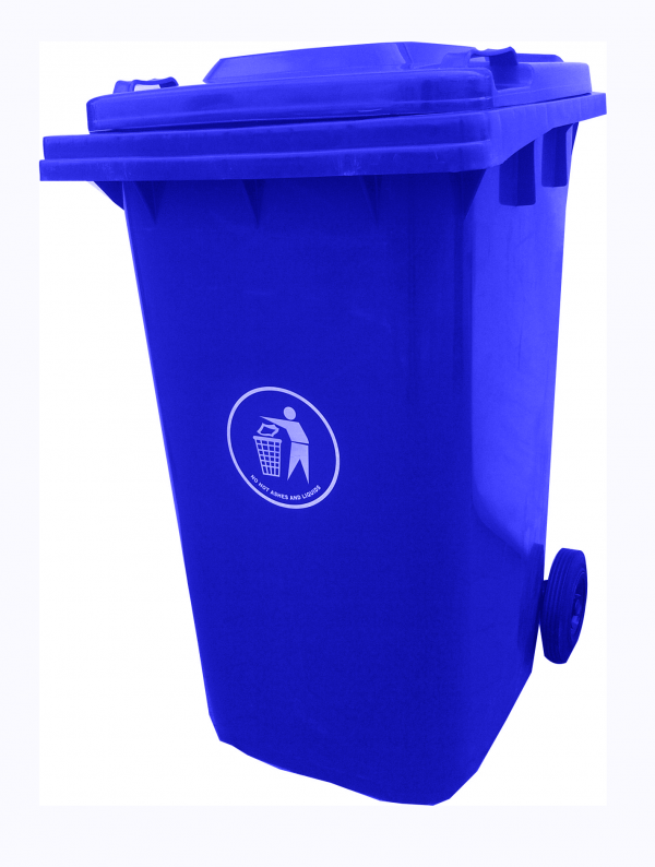 Spencer  Plastic 240 Litre Waste Bin With 2 Tyres - Green