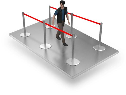 Crowd Control  Stanchion Barrier Queue Post Stand Poles and  Ropes - Red
