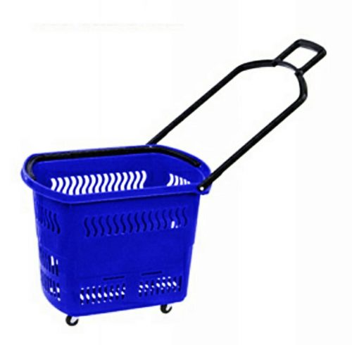 Plastic shopping basket trolley rolling on four wheels