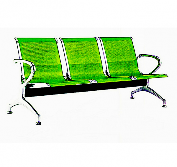 3-seater airport reception waiting office chair - Green