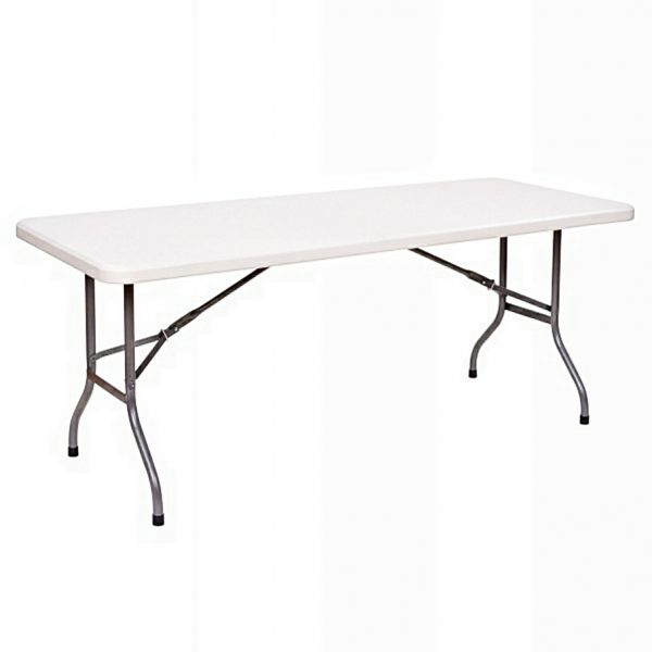 8-seater Rectangular Plastic Banquet Table with Foldable Metal legs - 6ft long