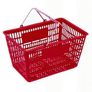 Plastic supermarket shopping basket trolley
