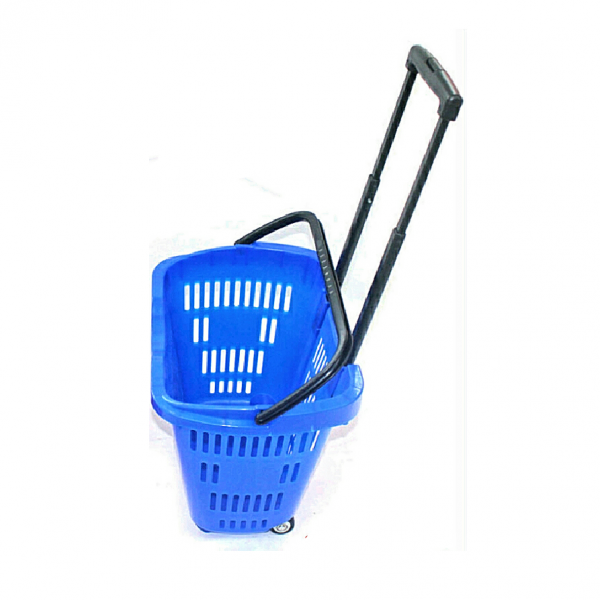 Supermarket shopping basket trolley rolling on four solid wheels