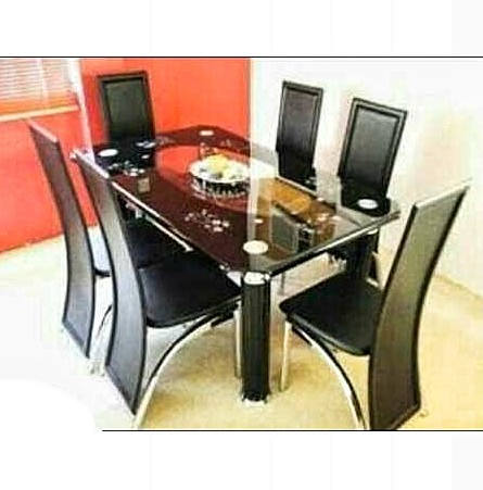 Armada 6-seater Curved Tempered Glass Dining Table With 6 Leather Chairs