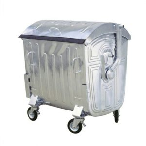 1,100 litre wheelie Galvanized waste bin