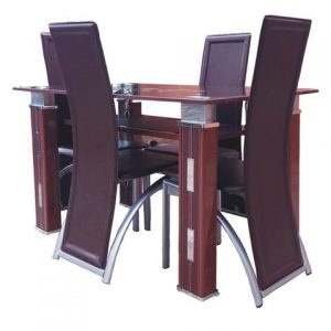 Chrome leg leather dining chairs