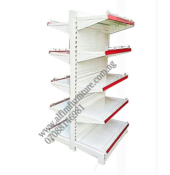 double sided gondola supermarket shelves