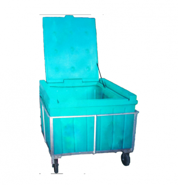 1000 litre Plastic Waste bin on trolley