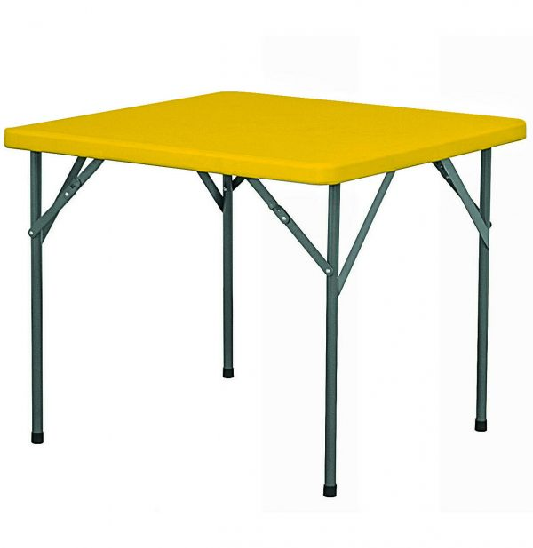 4-seater Square Restaurant Plastic Top Folding Table with Foldable Metal Legs - Orange