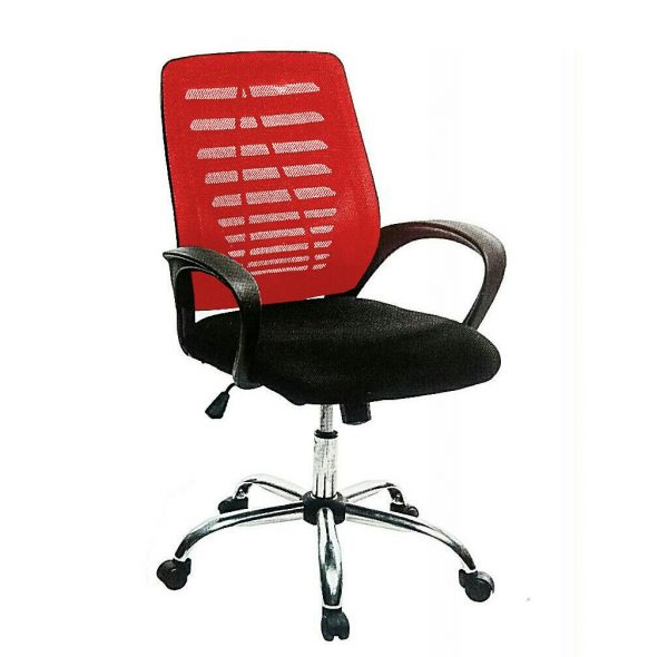 Emel Victory Medium Back Mesh Revolving Swivel  Office Chair -Red back