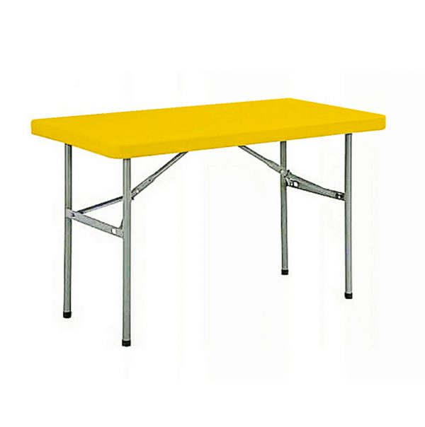 4-seater Rectangular  Restaurant Plastic Top Folding Table with Foldable Metal Legs – Yellow