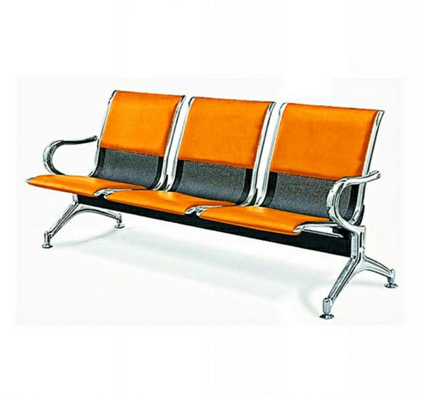 3-Seater Leather padded Reception Airport waiting office chair - Orange and Black