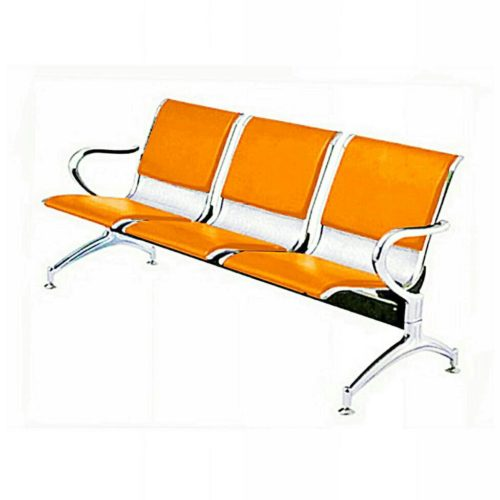 3-Seater Leather padded Reception Airport waiting office chair
