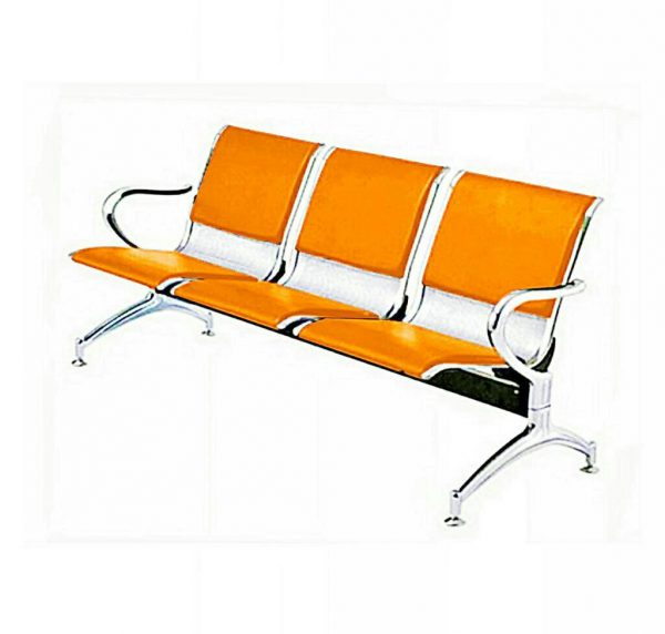 3-Seater Leather padded Reception Airport waiting office chair - Orange and grey