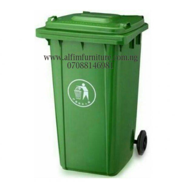 1,100 Litre Plastic Waste Bin rolling on 4 tyres
