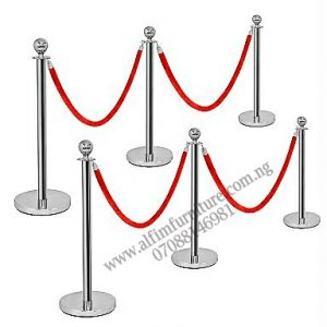Set of Crowd Control Stanchion Barriers (6 posts + 4 Ropes)