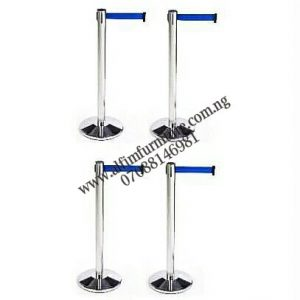 Set of Retractable Belt Stanchion Barrier Posts