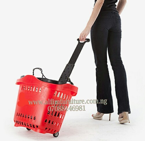 Alfim furniture plastic shopping basket trolley demo