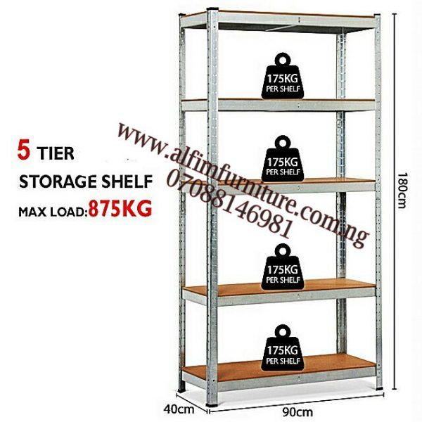 Heavy-duty 5-Level Boltless Rivet Steel Shelving Rack