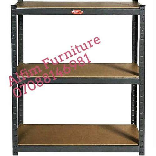 3 step steel shelving rack